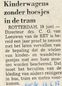 19730619 Kinderwagens zonder hoesje. (NRC)