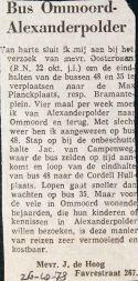 19731026 Bus Ommoord - Alexanderpolder.