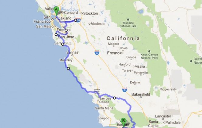Map of California showing road trip route