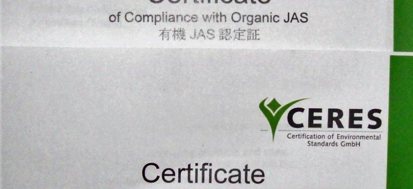 CERES Organic Certificates