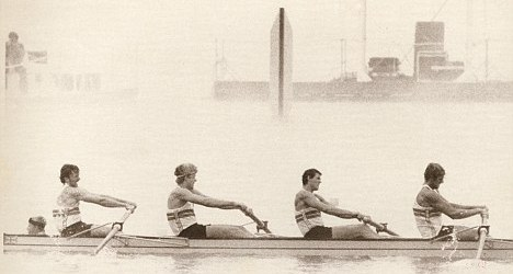 1984 Lake Casitas regatta finishing-line. The last stroke of the M4+ Olympic final