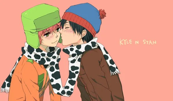 Homoerotic Anime/Manga South Park Fanart - Stan Marsh kissing Kyle Broflovski - yaoi