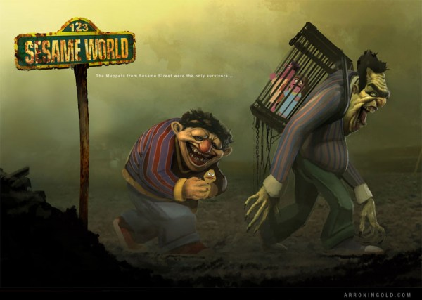 Sesame World: Post-Apocalyptic Bert and Ernie by Arron Ingold - Sesame Street Art
