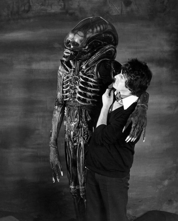 John Birkinshaw with Bolaji Badejo in the Alien suit