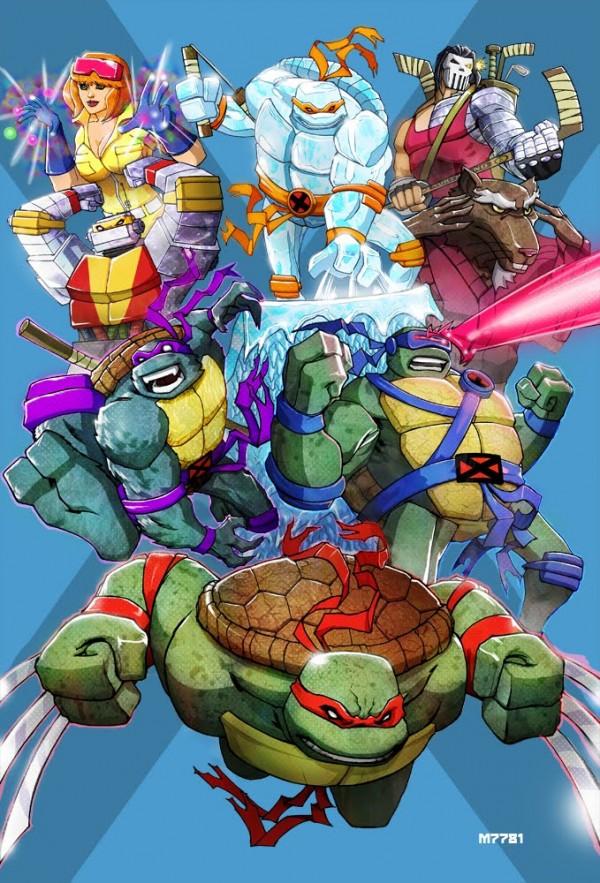 x-men x teenage mutant ninja turtles fan art mashup by marco d'alfonso