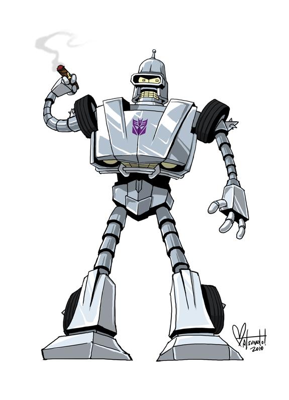 Transbender by Space Coyotoe - Futurama, Transformers, Mashup, Fanart