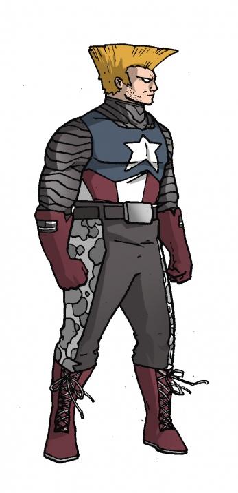 Captain America x Guile - Marvel vs Capcom Amalgam Universe - gaming fanart