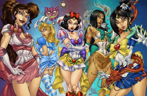 "Disney Scouts by Chris ""C-dubb"" Williams - Sailor Moon, Snow White, Alice, Pocahontas, Mulan"
