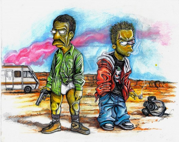 Breaking Bad x Simpsons Mashup Art - Seymour Skinner and Bart Simpson as Walter White and Jesse Pinkman