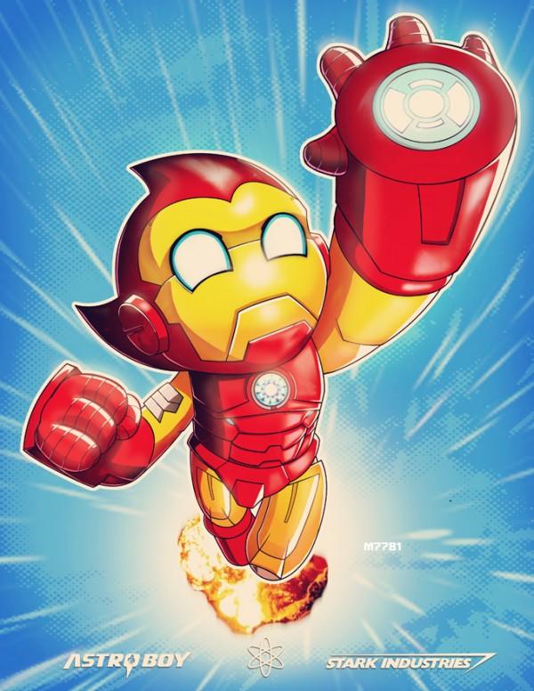 Stark Industries x Astro Boy by Marco D'Alfonso - Iron Man, Anime, Mashup, Fanart