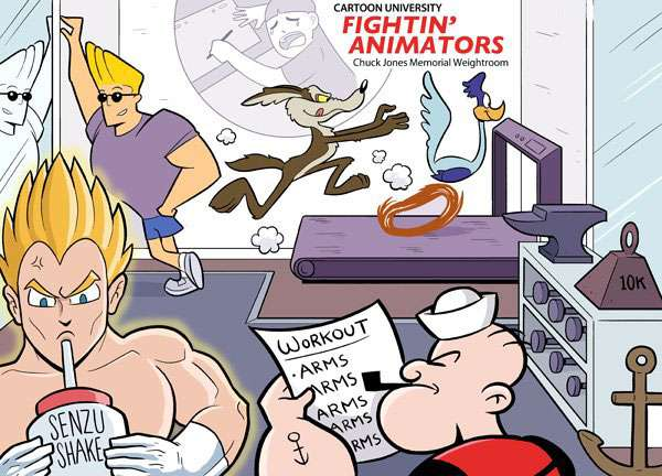 Johnny Bravo, Popeye, roadruner, wyle e. coyote, vegeta