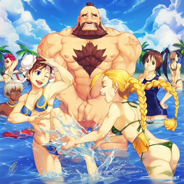 Beach Fighter by SaiyaGina - Street Fighter, Capcom, Gaming, Fanart