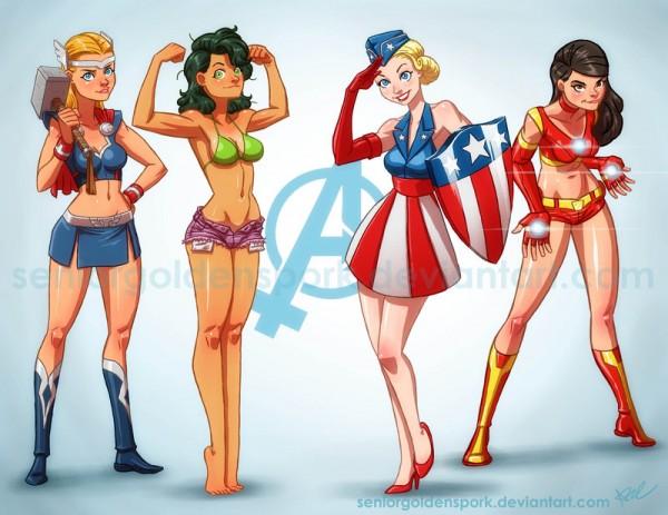 Lady Avengers by Abraham Lopez - Thor, Hulk, Captain America, Iron Man