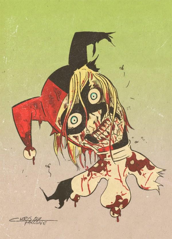 Zombie Harley Quinn by Chris Faccone - Batman, Fan Art, DC Comics