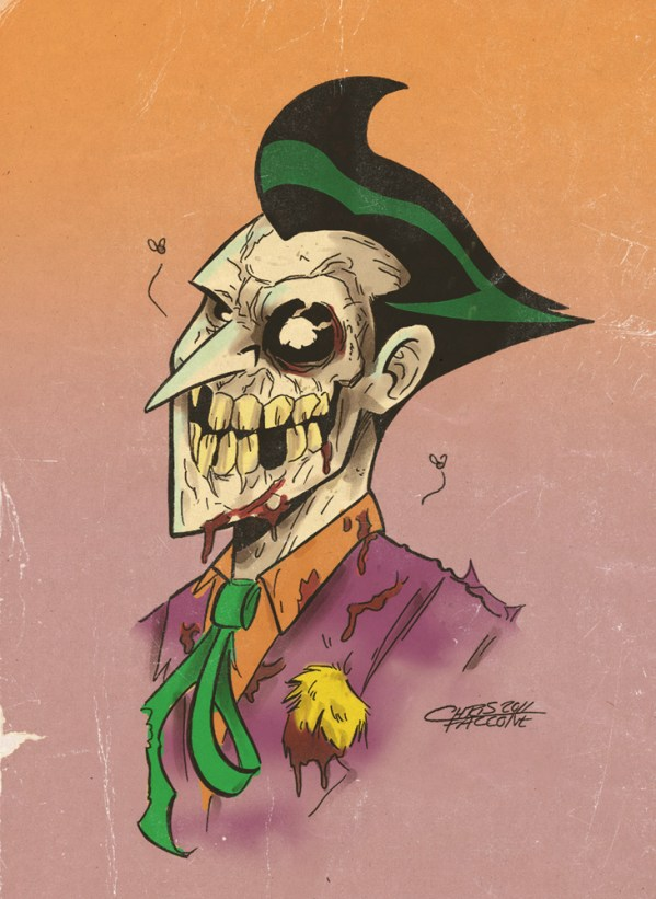 Zombie Joker by Chris Faccone - Batman, Fan Art, DC Comics