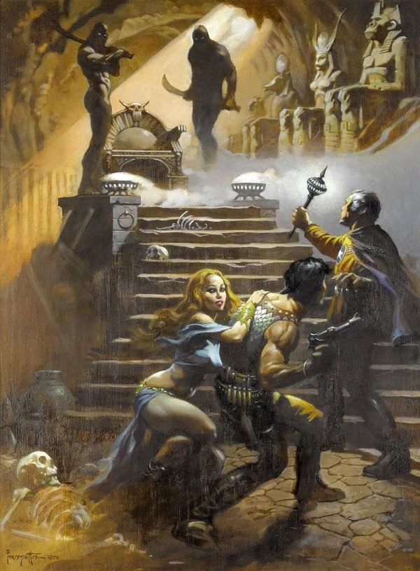 Frank Frazetta Battlestar Galactica Paintings - In Pharaoh's Tomb - BSG, Sci-Fi Art