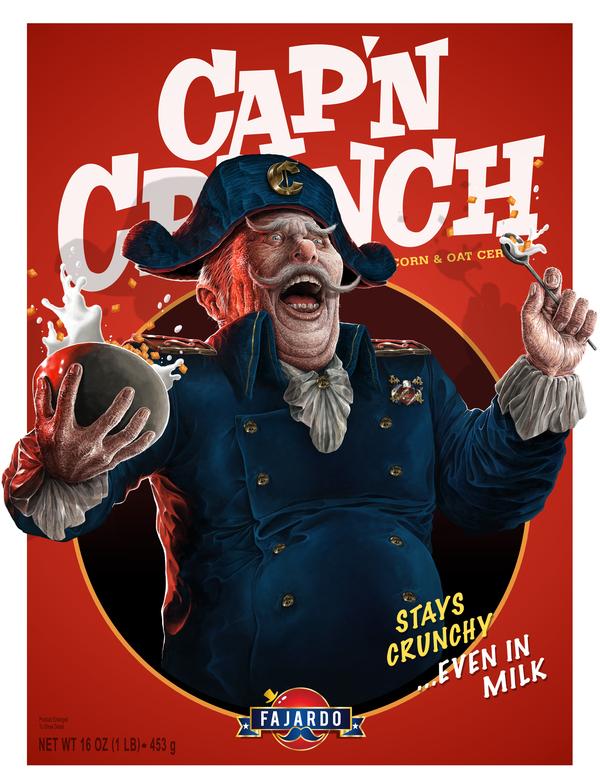 Cap'n Crunch by Guillermo Fajardo - Creepy Realistic Cereal Art