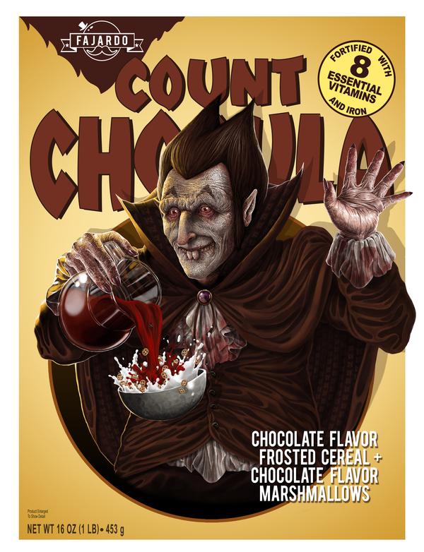 Count Chocula by Guillermo Fajardo - Creepy Realistic Cereal Art