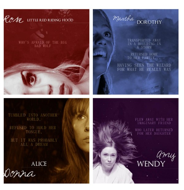 Doctor Who: Comparing Companions to Fairy Tale Characters - Rose/Little Red Riding Hood, Martha/Dorothy, Donna/Alice, Amy/Wendy