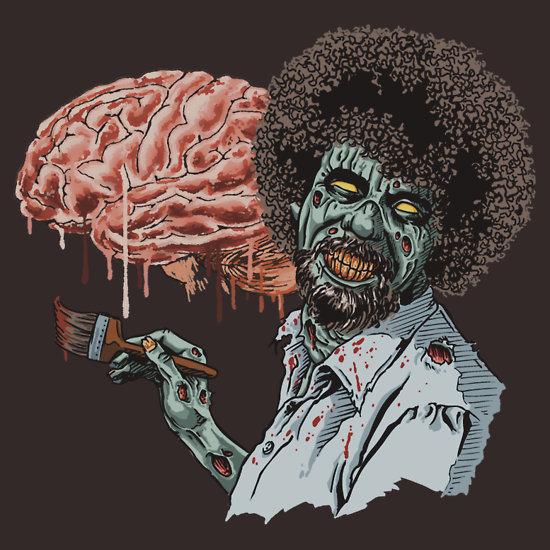 Happy Brains: Bob Ross Zombie Art by ShantyShawn