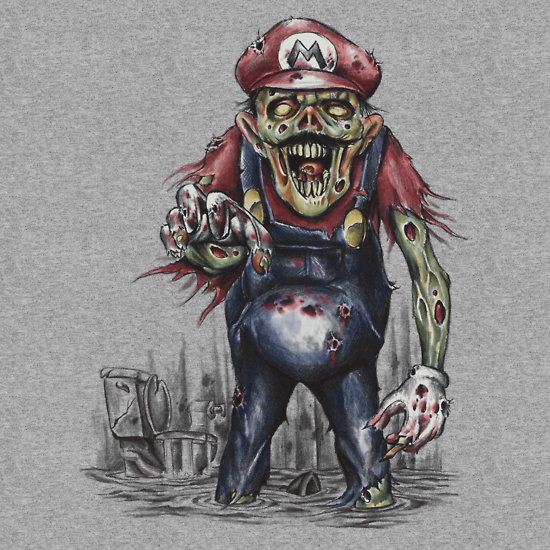 Return of the LIvind Dead Plumber - Super Mario Bros Zombie Art by ShantyShawn