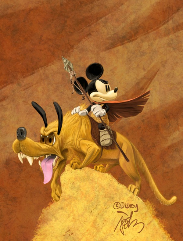 Mickey Mouse and Pluto in the Style of Frank Frazetta by John T. Quinn - Disney Art
