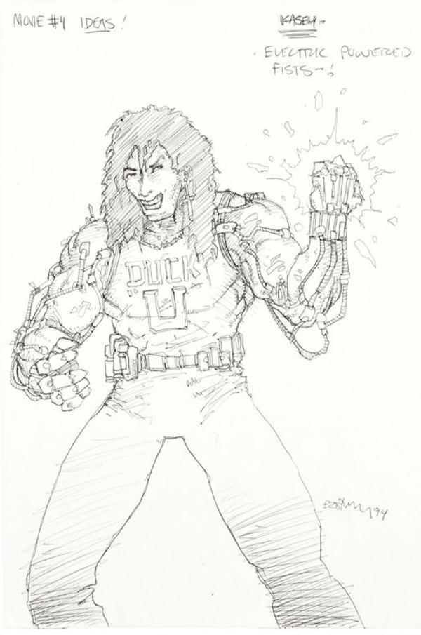 Casey Jones with electric hands by Kevin Eastman - tmnt 4 concept art