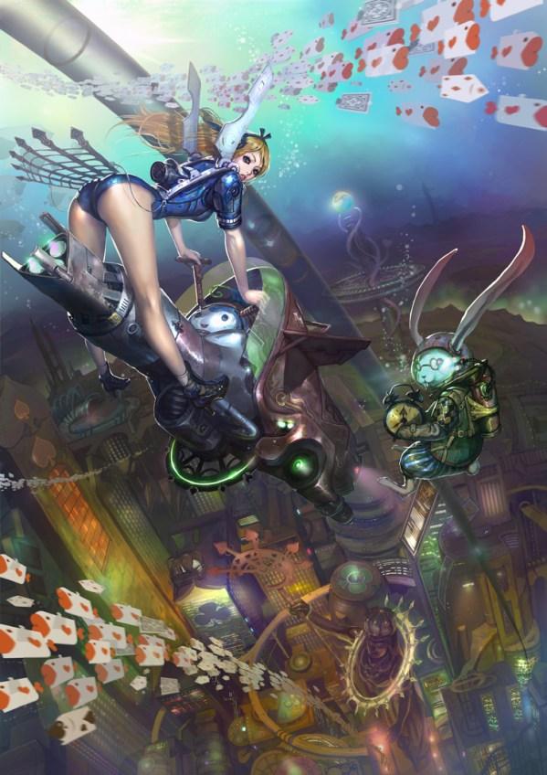 Cyberpunk Alice in Wonderland by Park Insu - sci-fi, underwater, alternative