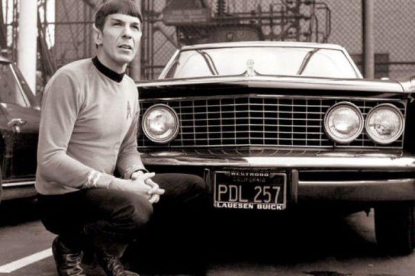 Leonard Nimoy as Spock Posing with '64 Buick Riviera - Star Trek