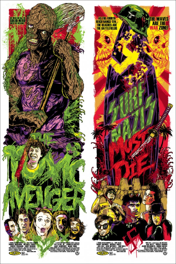 Toxic Avenger and Surf Nazis Must Die Poster by Rhys Cooper - Troma Art