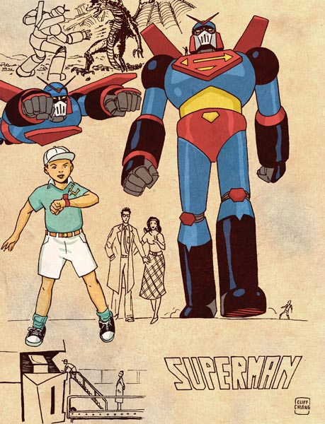 Giant Robot Superman - Retro Anime Style DC Superheroes by Cliff Chiang