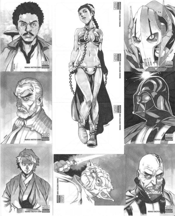 Star Wars Manga Sketch Cards by 2ngaw - anime, darth vader, slave leia, yoda