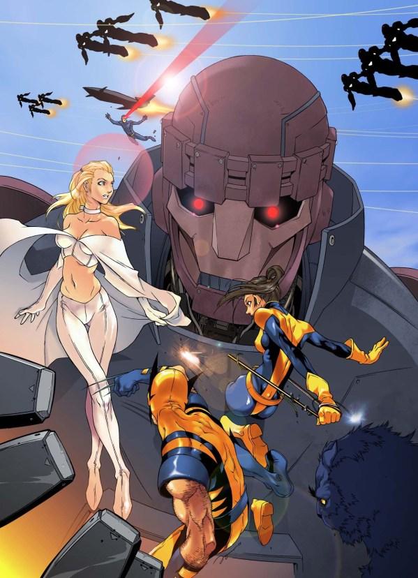 X-Men ASTONISH by 2ngaw - emma frost, Kitty Pryde, Shadowcat, Wolverine, Sentinel