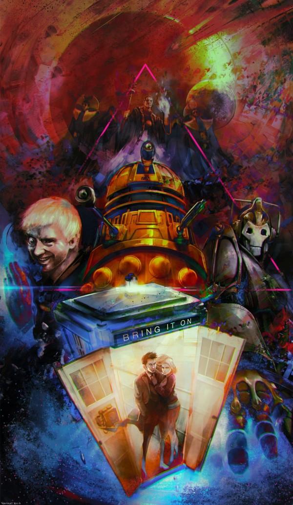 Allons-y! Doctor Who Fan Art by YIN Sam-Oeun -  David Tennant, Rose Tyler, Dalek, cyberman, tardis
