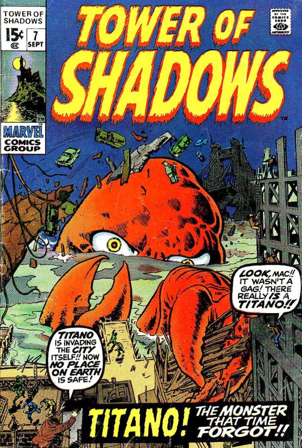 Jack Kirby's Titano Looks Like Dr. Zoidberg from Futurama - Tower of Shadows #7; Marvel, 1970
