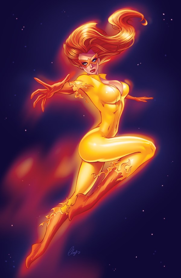 Firestar Pinup Art by Elias Chatzoudis - Spider-Man and His Amazing Friends