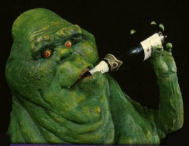 Ghostbusters Behind the Scenes - Slimer aka Onionhead drinking beer
