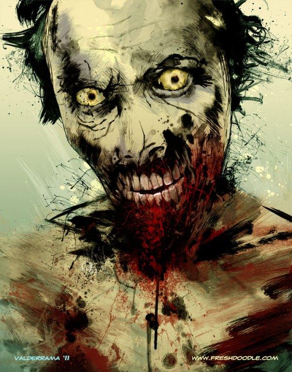 walker by fresh doodle - walking dead zombie