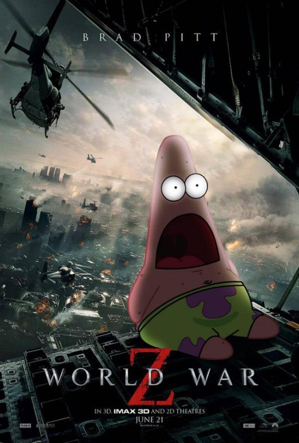 Surprised Patrick x Wordl War Z Poster - SpongeBob SquarePants, Patrick Star