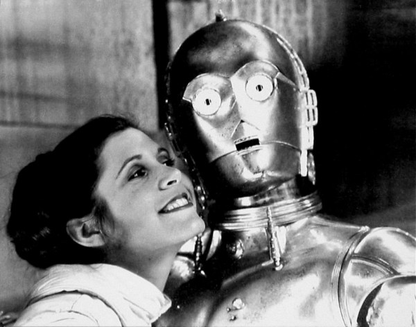 Princess Leia (Carrie Fisher) and C-3PO - Star Wars Empire Strikes Back Behind the Scenes