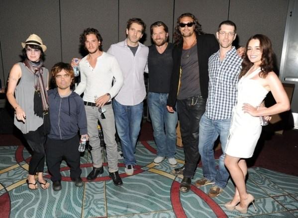 Lena Headey (Cersei Lannister), Peter Dinklage (Tyrion Lannister), Kit Harington (Jon Snow), Nikolaj Coster-Waldau (Jaime Lannister), Jason Momoa (Khal Drogo), Emilia Clarke (Daenerys Targaryen)
