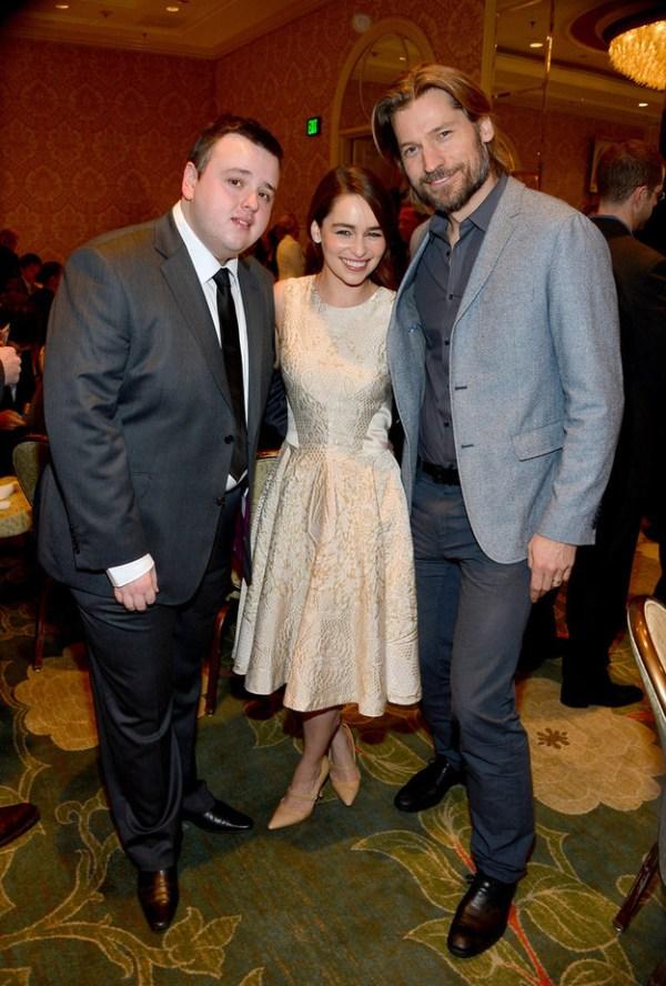 Game of Thrones Cast: John Bradley (Samwell Tarly), Emilia Clarke (Daenerys Targaryen), Nikolaj Coster-Waldau (Jaime Lannister)