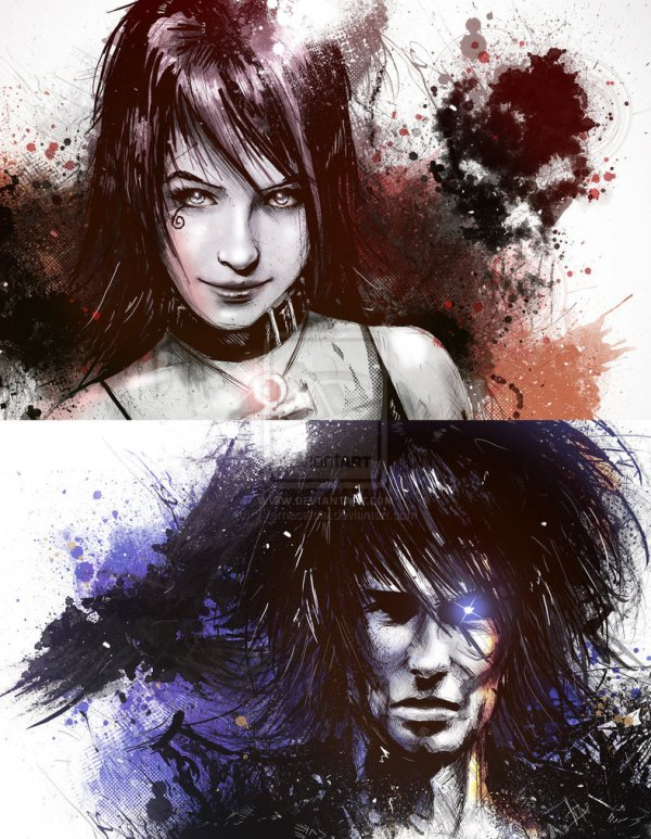 Death and Dream Portraits by Vincent Vernacatola - Vertigo Comics Art - Neil Gaiman - Sandman