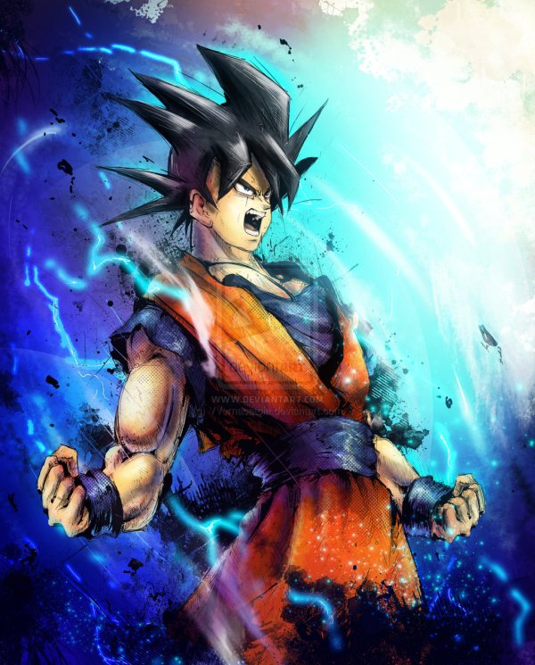 Goku Portrait by Vincent Vernacatola - Dragon Ball Z Art - Anime