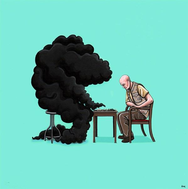 Game of Chess by Kiersten Essenpreis - LOST Art from Gallery1988's Bad Robot Art Experience - Locke vs Smoke Monster