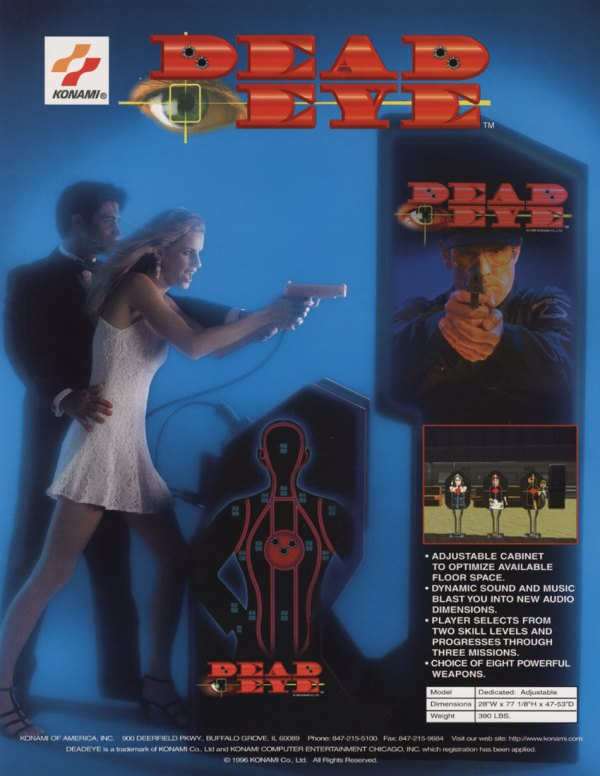 Dead Eye (1996) - Konam Arcade Flyer