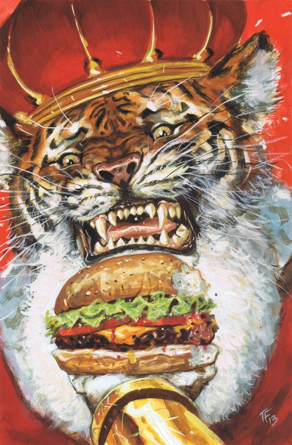 king tiger eating a cheeseburger by tom fowler