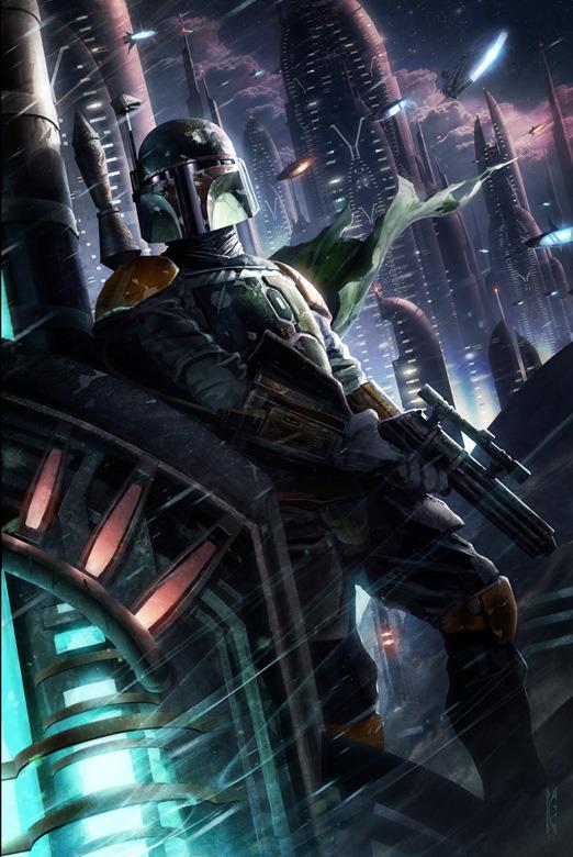 Hunter in the Endless City by Raymond Swanland - Boba Fett - Star Wars Art