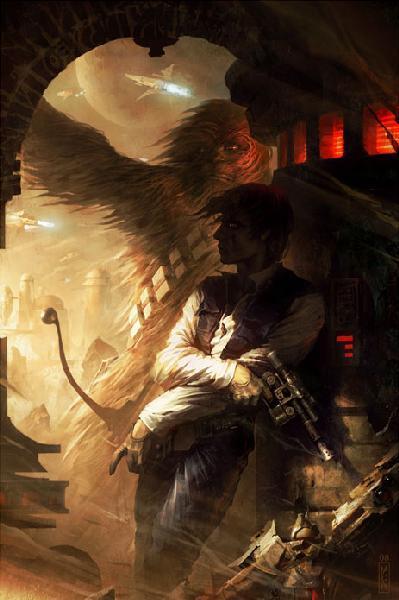 Shadows of Tatooine by Raymond Swanland - Han Solo and Chewbacca - Star Wars Art