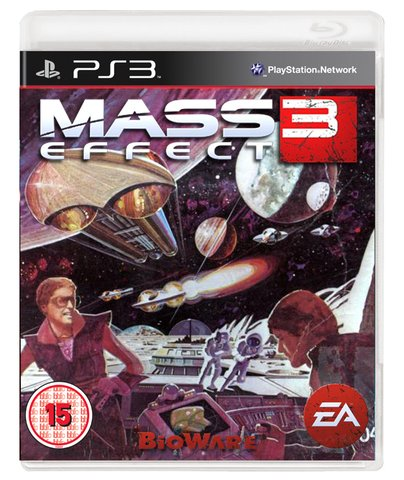 retro mass effect 3 box art - vintage 1980s style video game covers for modern games